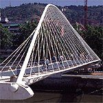 Campo Volantin Footbridge - Santiago Calatrava - Great Buildings Online :  architecture bridge calatrava footbridge